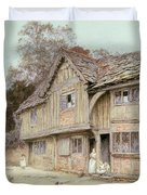 Outside A Timbered Cottage Duvet Cover
