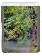 Overcast Reflections At Buck Creek Duvet Cover