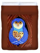 Owl And Owlettes Duvet Cover
