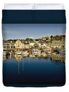 Padstow Marina Reflecting In Water Duvet Cover