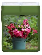 Painted Bucket Of Flowers Duvet Cover