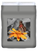 Painted Lady Butterfly On Zinnia Duvet Cover