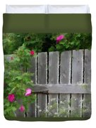 Painterly Fence And Roses Duvet Cover