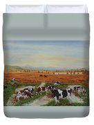 Painting Cows On Cors Caron Tregaron Duvet Cover
