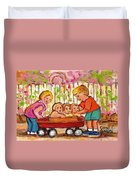 Paintings For Children - Boy - Girl - Red Wagon And Puppies Duvet Cover