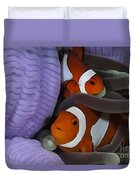 Pair Of Clown Anemonefish, Indonesia Duvet Cover