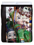 Pair Of Large Puppets At The Surajkund Mela Duvet Cover