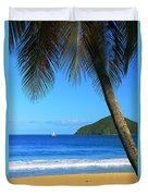 Palm Shaded Island Beach  Duvet Cover