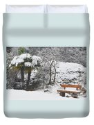 Palm Tree And A Bench With Snow Duvet Cover