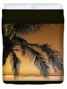 Palm Tree And Sunset In Mexico Duvet Cover by Darren Greenwood