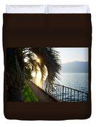 Palm Tree In Backlight Duvet Cover