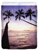 Palm Trees At Dusk Duvet Cover