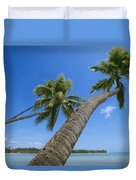 Palm Trees On A Tropical Beach, Fiji Duvet Cover