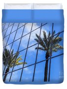 Palm Trees Reflection On Glass Office Building Duvet Cover