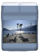 Palm Trees With Shadows Duvet Cover