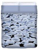 Pancake Ice On Whiteshell River Duvet Cover