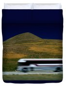 Panned View Of A Bus On Interstate 15 Duvet Cover