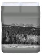 Panorama Scenic Autumn View Of The Colorado Indian Peaks Bw Duvet Cover