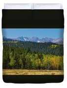 Panorama Scenic Autumn View Of The Colorado Indian Peaks Duvet Cover