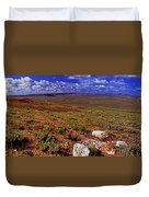 Panoramic View Of Fossil Butte Nm Valley Duvet Cover
