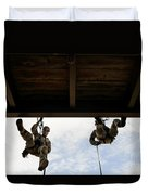 Pararescuemen Take Part In A Rappelling Duvet Cover