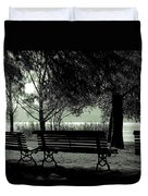 Park Benches In Autumn Duvet Cover