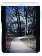 Park Path At Dusk Duvet Cover