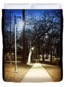 Park Path At Night Duvet Cover by Elena Elisseeva
