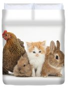 Partridge Pekin Bantam With Kitten Duvet Cover