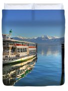 Passenger Ship Reflected On The Water Duvet Cover