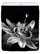 Passion Flower In Black And White Duvet Cover