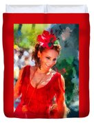 Passionate Gypsy Blood. Flamenco Dance Duvet Cover by Jenny Rainbow