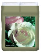 Pastel Pink And White Rose Duvet Cover