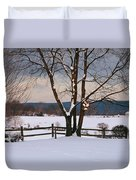 Pastoral View Of A Farm Covered In Snow Duvet Cover