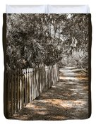 Path Along The Fence Duvet Cover