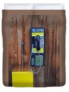 Pay Phone And Book Wooden And Yellow Duvet Cover