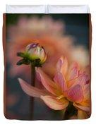 Peach Dahlias Duvet Cover