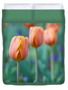Peach Tulips  Square Format Duvet Cover