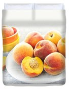 Peaches On Plate Duvet Cover