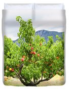 Peaches On Tree Duvet Cover by Elena Elisseeva