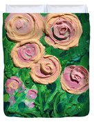 Peachy Roses Taking Form Duvet Cover by Ruth Collis