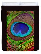 Peacock Feather Close Up Duvet Cover by Garry Gay