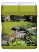 Peacock In Formal Garden, Kilmokea, Co Duvet Cover
