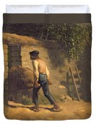 Peasant With A Wheelbarrow Duvet Cover by Jean-Francois Millet