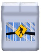 Pedestrian Crosswalk Sign In Business District Duvet Cover by Gary Whitton