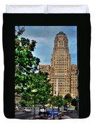 Pedestrian View Of City Hall Vert Duvet Cover