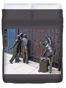 Peeking At Baseball Game Sculpture Duvet Cover