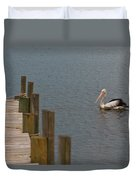 Pelican In The Water Next To A Timber Landing Pier Duvet Cover