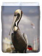 Pelican Visiting City Marina Duvet Cover