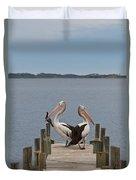 Pelicans On A Timber Landing Pier Mooring Duvet Cover